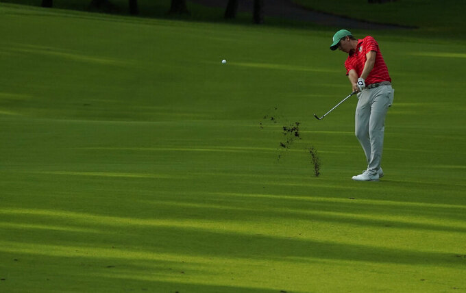 Carlos Ortiz of Mexico plays a shot from the 17th fairway during the second round of the men's golf event at the 2020 Summer Olympics at the 2020 Summer Olympics, Friday, July 30, 2021, in Kawagoe, Japan. (AP Photo/Matt York)