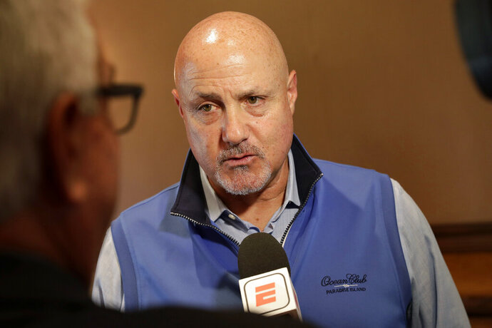 Washington Nationals general manager Mike Rizzo speaks during a media availability during the Major League Baseball general managers annual meetings Tuesday, Nov. 12, 2019, in Scottsdale, Ariz. (AP Photo/Matt York)