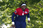 New England Patriots quarterback Cam Newton steps on the field during an NFL football training camp practice, Sunday, Aug. 23, 2020, in Foxborough, Mass. (AP Photo/Steven Senne, Pool)