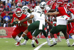 Colorado State safety Jamal Hicks (7) defends Fresno State quarterback Jorge Reyna during the first half of an NCAA college football game in Fresno, Calif., Saturday, Oct. 26 2019. (AP Photo/Gary Kazanjian)