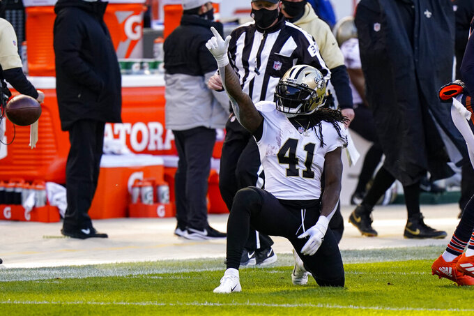New Orleans Saints running back Alvin Kamara (41) signals for a first down after a run against the Chicago Bears in the first half of an NFL football game in Chicago, Sunday, Nov. 1, 2020. (AP Photo/Nam Y. Huh)