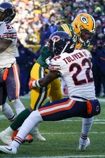 Green Bay Packers' Aaron Jones runs for a touchdown during the second half of an NFL football game against the Chicago Bears Sunday, Dec. 15, 2019, in Green Bay, Wis. (AP Photo/Morry Gash)
