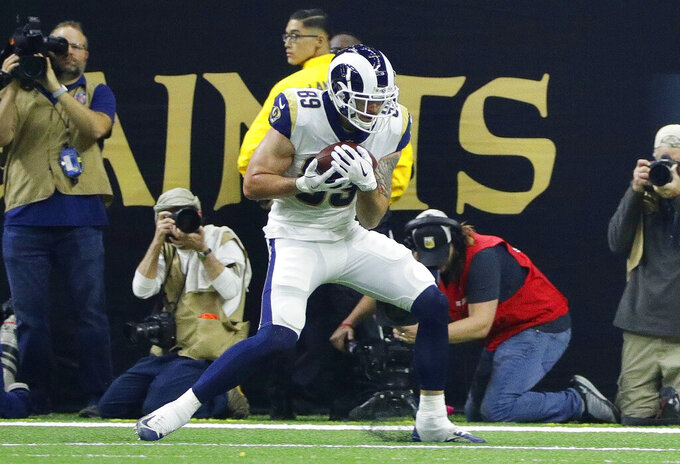 Los Angeles Rams' Tyler Higbee catches a touchdown pass during the second half of the NFL football NFC championship game against the New Orleans Saints, Sunday, Jan. 20, 2019, in New Orleans. (AP Photo/David J. Phillip)