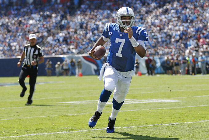 Indianapolis Colts quarterback Jacoby Brissett scrambles against the Tennessee Titans in the first half of an NFL football game Sunday, Sept. 15, 2019, in Nashville, Tenn. (AP Photo/Wade Payne)