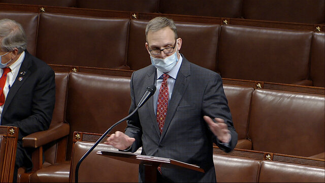 In this image from video, Rep. Scott Perry, R-Pa., speaks at the U.S. Capitol Thursday, Jan. 7, 2021. After two days of silence Perry confirmed a New York Times report, saying Monday, Jan. 25, 2021 that he had introduced then-President Donald Trump to a top Justice Department lawyer who, according to the newspaper, then discussed a plan to overturn the results of the 2020 election. (House Television via AP)
