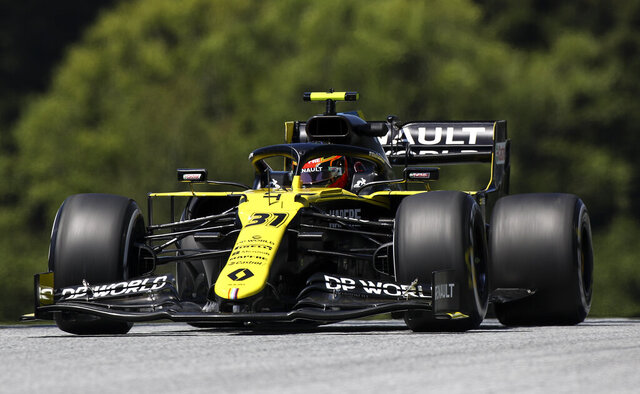 Renault driver Esteban Ocon of France steers his car during the first practice session for the Styrian Formula One Grand Prix at the Red Bull Ring racetrack in Spielberg, Austria, Friday, July 10, 2020. The Styrian F1 Grand Prix will be held on Sunday. (Mark Thompson/Pool via AP)