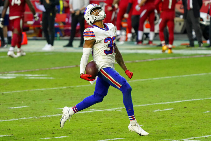 Buffalo Bills cornerback Dane Jackson (30) celebrates his fumble recovery against the Arizona Cardinals during the second half of an NFL football game, Sunday, Nov. 15, 2020, in Glendale, Ariz. (AP Photo/Rick Scuteri)