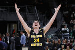Northern Kentucky forward Drew McDonald celebrates the team's 77-66 win against Wright State during an NCAA college basketball game for the Horizon League men's tournament championship in Detroit, Tuesday, March 12, 2019. (AP Photo/Paul Sancya)