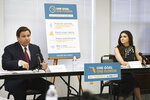 """Florida Gov. Ron DeSantis and First Lady Casey DeSantis participate in a roundtable discussion in Jacksonville, Fla., Tuesday, Aug. 4, 2020. DeSantis returned to a familiar theme: protecting the state's most vulnerable from the coronavirus. The governor said he was looking for """"a pathway to get families access"""" to the 1.5 million loved ones who are finding themselves socially and emotionally isolated in nursing homes and senior facilities. (Bob Self/The Florida Times-Union via AP)"""