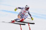 Norway's Aleksander Aamodt Kilde competes in an alpine ski, men's World Cup Super G, in Saalbach-Hinterglemm, Austria, Friday, Feb. 14, 2020. (AP Photo/Marco Tacca)