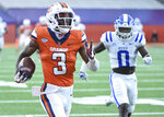 Syracuse wide receiver Taj Harris (3) scores a touchdown run against Duke during an NCAA college football game,  Saturday, Oct 10, 2020, at the Carrier Dome in Syracuse, N.Y. (Dennis Nett/The Post-Standard via AP)