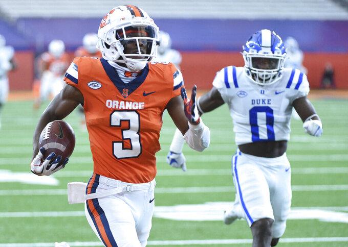 Syracuse wide receiver Taj Harris (3) scores a touchdown run against Duke during an NCAA college football game,  Saturday, Oct 10, 2020, at the Carrier Dome in Syracuse, N.Y. (Dennis Nett/The Post-Standard via AP)