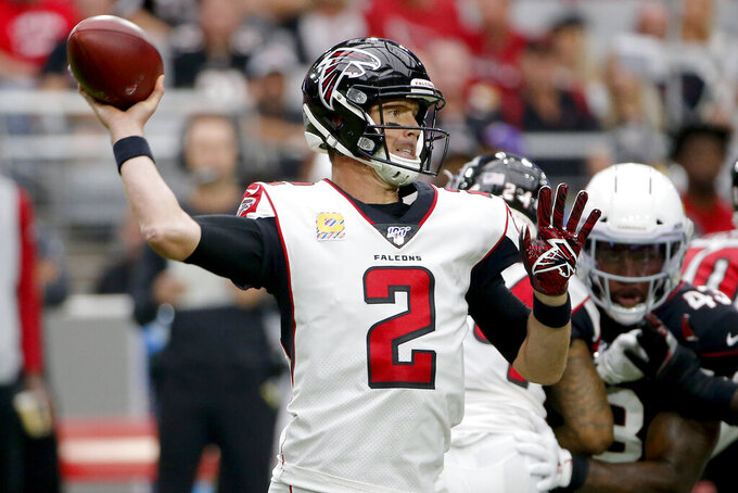 Atlanta Falcons quarterback Matt Ryan (2) throws against the Arizona Cardinals during the first half of an NFL football game, Sunday, Oct. 13, 2019, in Glendale, Ariz. (AP Photo/Rick Scuteri)