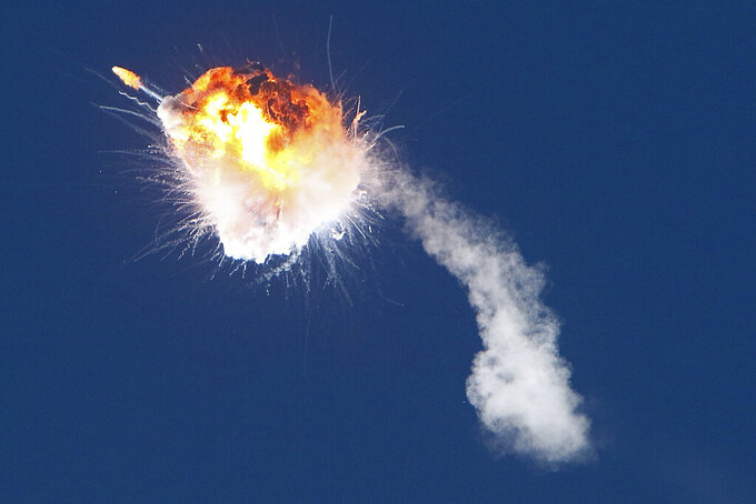 """A rocket launched by Firefly Aerospace, the latest entrant in the New Space sector, is seen exploding minutes after lifting off from the central California coast on Thursday, Sept. 2, 2021. The Alpha rocket was """"terminated"""" over the Pacific Ocean shortly after its 6:59 p.m. liftoff from Vandenberg Space Force Base, according to a base statement. (AP Photo/Matt Hartman)"""