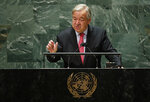 United Nations Secretary General Antonio Guterres addresses the 76th Session of the U.N. General Assembly, Tuesday, Sept. 21, 2021, at United Nations headquarters in New York. ( Eduardo Munoz/Pool Photo via AP)