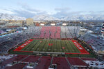 FILE - Rice-Eccles Stadium is shown before the start of an NCAA college football game between Colorado and Utah Saturday, Nov. 30, 2019, in Salt Lake City. Losing college football stings across America. While every aspect of society has been jarred by a worldwide pandemic that has claimed more than 160,000 American lives, the potential loss of college football feels like another collective punch to the national psyche. (AP Photo/Rick Bowmer, File)