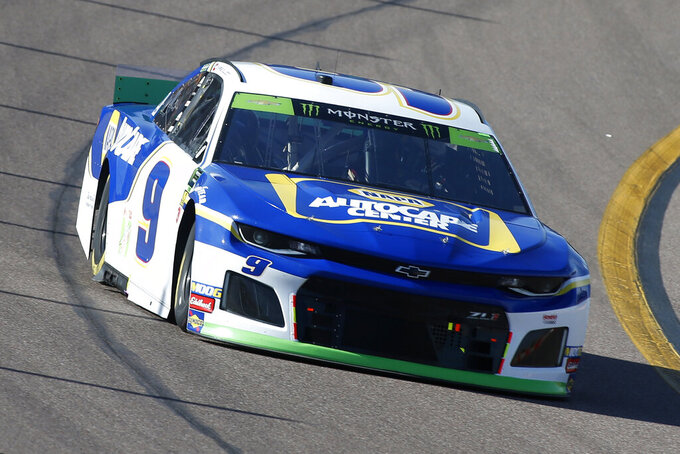 Chase Elliott during the NASCAR Cup Series auto race at ISM Raceway, Sunday, Nov. 10, 2019, in Avondale, Ariz. (AP Photo/Ralph Freso)