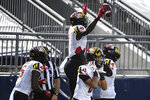 Maryland wide receiver Dontay Demus Jr. (7) celebrates a second-quarter touchdown pass against Penn State during an NCAA college football game in State College, Pa., Saturday, Nov. 7, 2020. (AP Photo/Barry Reeger)