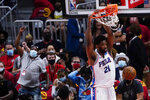Philadelphia 76ers center Joel Embiid dunks during the second half of Game 3 of the team's second-round NBA basketball playoff series against the Atlanta Hawks, Friday, June 11, 2021, in Atlanta. (AP Photo/John Bazemore)