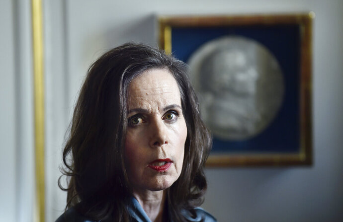 A May, 10, 2017 file photo of Sara Danius. Sara Danius, the first female head of the prestigious Swedish body that awards the Nobel Prize in Literature, has died. She was 57. Her family told Swedish news agency TT that Danius passed away early Saturday following a long illness.  (Alexander Larsson Vierth/TT via AP)