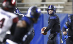 BYU quarterback Zach Wilson (1) looks to throw the ball in the first half of an NCAA college football game against San Diego State Saturday, Dec. 12, 2020, in Provo, Utah. (AP Photo/George Frey, Pool)
