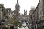 A view of Union Street, after bars, cafes and restaurants were ordered to close as lockdown restrictions were reimposed due to a coronavirus cluster in the area, in Aberdeen, Scotland, Wednesday, Aug. 5, 2020.  A five-mile travel rule has been put in place and residents are being told not to enter each other's houses as First Minister Nicola Sturgeon said over 50 cases have now been reported. (Andrew Milligan/PA via AP)