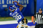 New York Giants wide receiver Darius Slayton (86) catches a pass for a touchdown against the Pittsburgh Steelers during the second quarter of an NFL football game Monday, Sept. 14, 2020, in East Rutherford, N.J. (AP Photo/Seth Wenig)