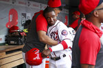 Washington Nationals' Victor Robles, center, celebrates with teammates after scoring on a single into shallow right field in the sixth inning of a baseball game against the Cleveland Indians at Nationals Park, Sunday, Sept. 29, 2019, in Washington. (AP Photo/Andrew Harnik)