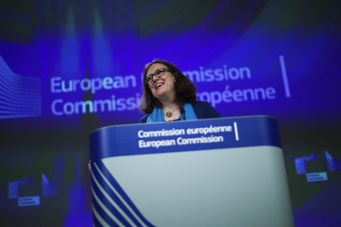 European Trade Commissioner Cecilia Malmstrom talks to journalists during a news conference at the European Commission headquarters in Brussels, Monday, April 15, 2019. (AP Photo/Francisco Seco)