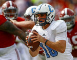 Citadel quarterback Brandon Rainey (16) rolls out to pass against Alabama during the second half of an NCAA college football game, Saturday, Nov. 17, 2018, in Tuscaloosa, Ala. (AP Photo/Butch Dill)