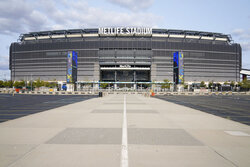 The parking lot surrounding Met Life Stadium sits empty before an NFL football game between the New York Giants and Pittsburgh Steelers, Monday, Sept. 14, 2020, in East Rutherford, N.J. (AP Photo/Seth Wenig)