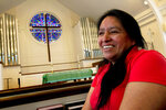 Maria Chavalan-Sut, an immigrant from Guatemala, speaks during an interview at Wesley Memorial United Methodist Church in Charlottesville, Va., on Wednesday, July 17, 2019. The church has provided Chavalan-Sut with a mental health therapist. A fire at her home in Guatemala is only one of several traumatic events she said she has experienced for being Kaqchikel, a group of indigenous Mayans. (AP Photo/Jose Luis Magana)