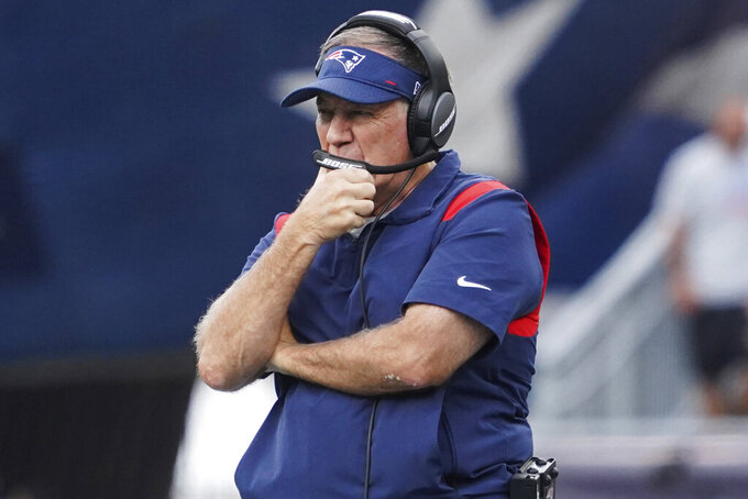 New England Patriots head coach Bill Belichick looks on during an NFL football game against the New Orleans Saints, Sunday, Sept. 26, 2021, in Foxborough, Mass. (AP Photo/Mary Schwalm)