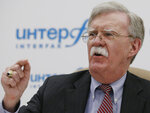 U.S. National security adviser John Bolton speaks to the media during a news conference in Moscow, Russia, Tuesday, Oct. 23, 2018. (AP Photo/Alexander Zemlianichenko)