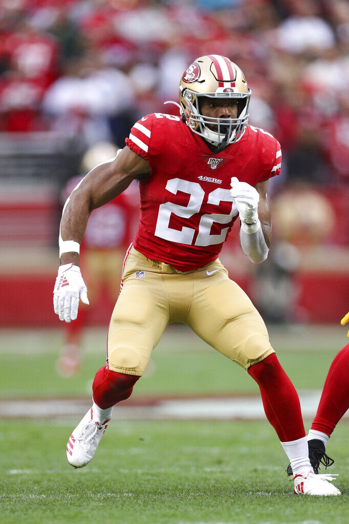 San Francisco 49ers running back Matt Breida (22) covers a kickoff return during the NFL NFC Championship football game against the Green Bay Packers, Sunday, Jan. 19, 2020 in Santa Clara, Calif. The 49ers defeated the Packers 37-20. (Margaret Bowles via AP)