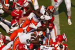Cleveland Browns running back Kareem Hunt (27) scores a 2-point conversion during the first half of an NFL football game against the Kansas City Chiefs Sunday, Sept. 12, 2021, in Kansas City, Mo. (AP Photo/Charlie Riedel)