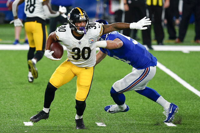 Pittsburgh Steelers running back James Conner (30) runs the ball against the New York Giants during the second quarter of an NFL football game Monday, Sept. 14, 2020, in East Rutherford, N.J. (AP Photo/Seth Wenig)