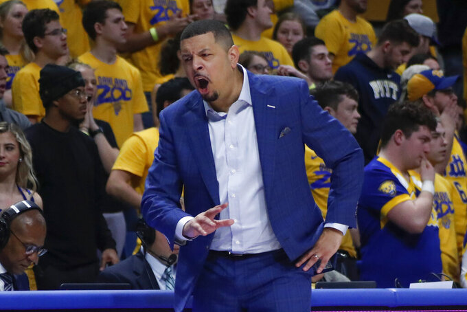 Pittsburgh head coach Jeff Capel yells to his team during the second half of an NCAA college basketball game against Wake Forest, Saturday, Jan. 4, 2020, in Pittsburgh. (AP Photo/Keith Srakocic)