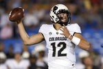 Colorado quarterback Steven Montez throws a pass during the first half of an NCAA college football game against UCLA in Los Angeles, Saturday, Nov. 2, 2019. (AP Photo/Kelvin Kuo)