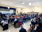 A hearing held by North Dakota regulators on a proposed expansion of the Dakota Access pipeline drew a large crowd to the Emmons County Courthouse in Linton, North Dakota on Wednesday, Nov. 13, 2019. (Amy Sisk/The Bismarck Tribune via AP)