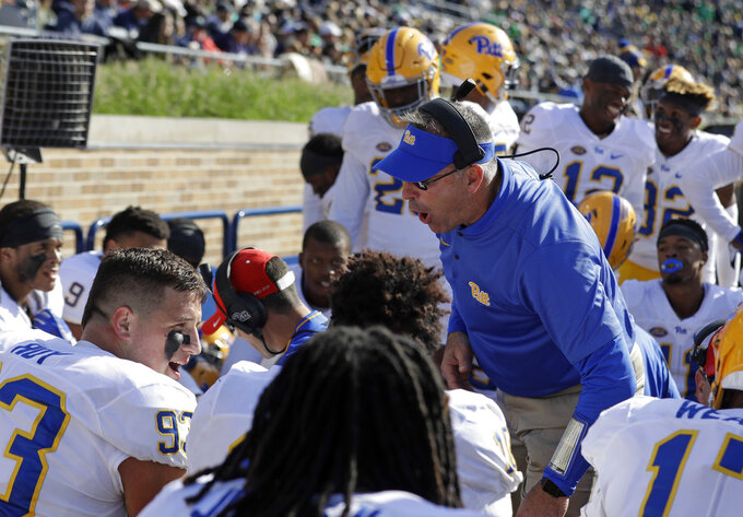 Pittsburgh head coach Pat Narduzzi talks to the defensive squad after they stopped Notre Dame during the first half of an NCAA college football game, Saturday, Oct. 13, 2018, in South Bend, Ind. (AP Photo/Darron Cummings)