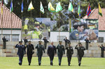 Colombia's President Ivan Duque, center, walks with his military staff at a graduation ceremony for police cadets in Bogota, Colombia, Thursday, Nov. 7, 2019. Colombia's Defense Minister Guillermo Botero resigned Wednesday after a lawmaker accused him of failing to disclose that eight minors had been killed in a military operation against dissident rebels. (AP Photo/Fernando Vergara)