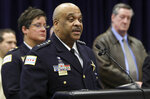 Chicago Police Supt. Eddie Johnson speaks during a press conference at CPD headquarters, Thursday, Feb. 21, 2019, in Chicago, after actor Jussie Smollett turned himself in on charges of disorderly conduct and filing a false police report. The