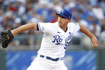 Kansas City Royals pitcher Kris Bubic delivers to a Seattle Mariners batter during the first inning of a baseball game at Kauffman Stadium in Kansas City, Mo., Saturday, Sept. 18, 2021. (AP Photo/Colin E. Braley)