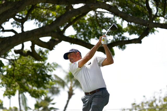 Defending champion Matt Kuchar hits from the second tee during the Sony Open PGA Tour pro-am golf event, Wednesday, Jan. 8, 2020, at Waialae Country Club in Honolulu. (AP Photo/Matt York)