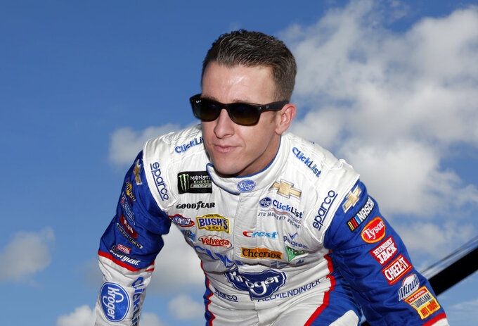 AJ Allmendinger is introduced before a NASCAR Cup Series Championship auto race at the Homestead-Miami Speedway, Sunday, Nov. 18, 2018, in Homestead, Fla. (AP Photo/Terry Renna)