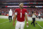 Arizona Cardinals quarterback Kyler Murray (1) walks to mid field after an NFL football game against the Detroit Lions, Sunday, Sept. 8, 2019, in Glendale, Ariz. The Lions and Cardinals played to a 27-27 tie on overtime. (AP Photo/Rick Scuteri)