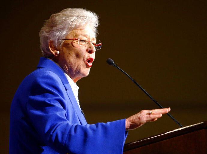"FILE - In this June 5, 2018, file photo, Alabama Gov. Kay Ivey speaks to supporters at her watch party after winning the Republican nomination for governor, at a hotel in Montgomery, Ala. After some Alabama sheriffs profited large sums of money by skimping on jailhouse meals, Ivey said Tuesday, July 10, that the state will no longer give jail food funds to ""sheriffs personally."" (AP Photo/Butch Dill, File)"