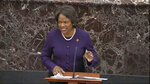 In this image from video, House impeachment manager Rep. Val Demings, D-Fla., speaks during closing arguments in the impeachment trial against President Donald Trump in the Senate at the U.S. Capitol in Washington, Monday, Feb. 3, 2020. (Senate Television via AP)