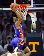 Florida guard Jalen Hudson (3) attempts a dunk during the first half of an NCAA college basketball game against Tennessee, Saturday, Feb. 9, 2019, in Knoxville, Tenn. (AP photo/Wade Payne)